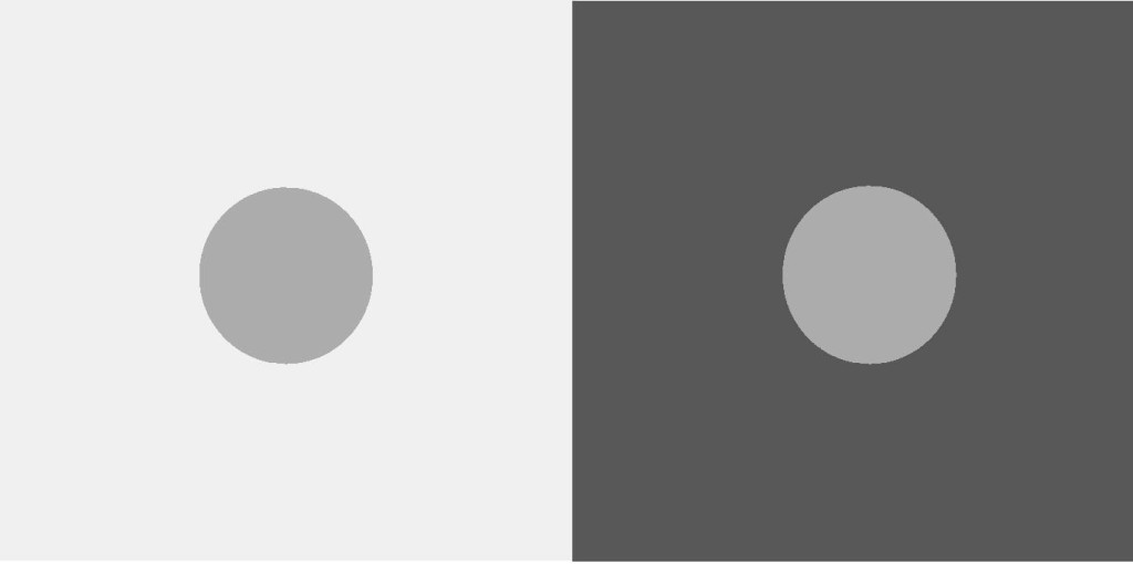 Figure 1: Simultaneous contrast. The two circles have the same luminance (on screen) or reflectance (if printed) but because of the difference in background they appear to be at different grey levels. From Kingdom (2011). Cf. Cohen (2009).