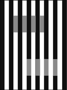Figure 2: White's Effect. The two sets of short bars have the same luminance (on screen) or reflectance (if printed) but because of the difference in background they appear to be at different grey levels, and to differ in their opacity/transparency. From Kingdom (2011).
