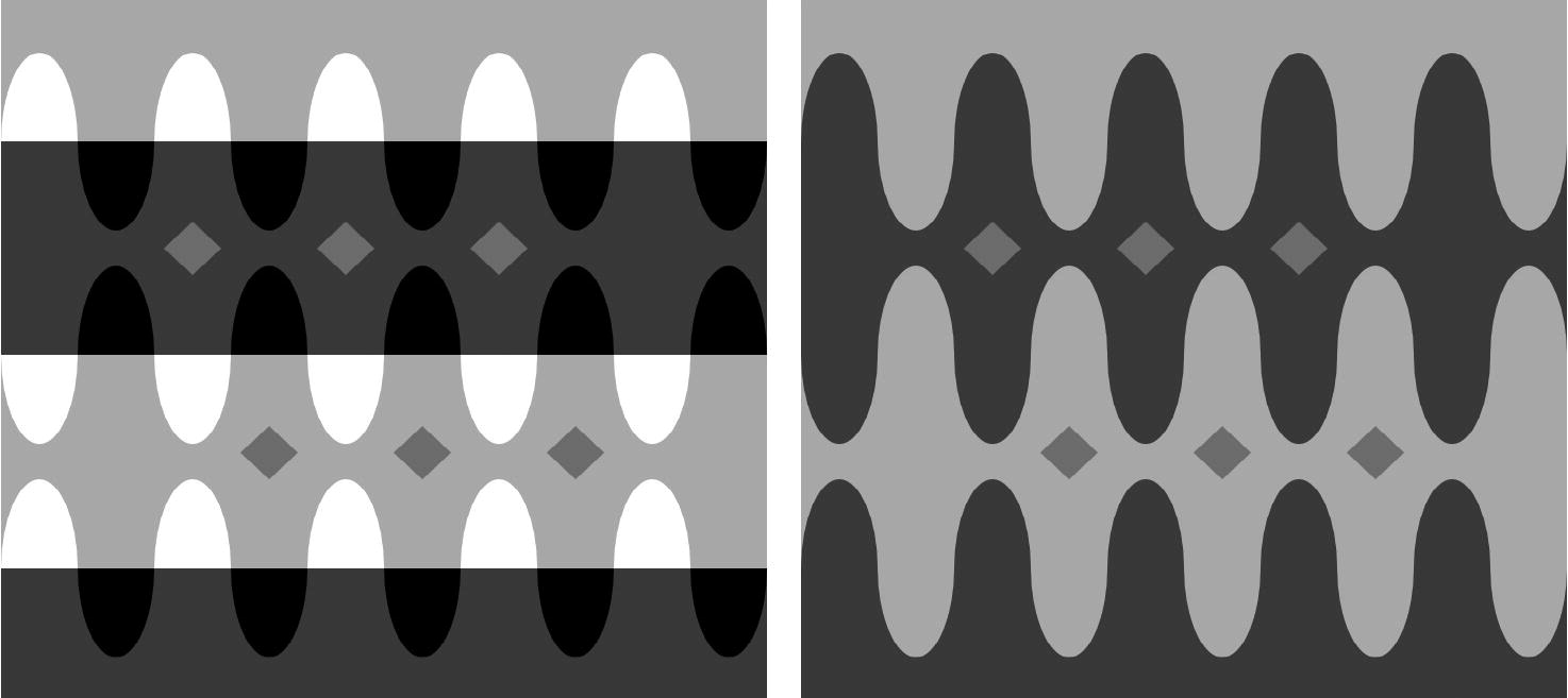 Figure 3: Adelson's Snake. All of the small diamonds have the same luminance (on screen) or reflectance (if printed). But the top left row of diamonds, which seems to be behind a dark trans- parency, appears much lighter than the bottom left row, which seems to be strongly illuminated. The image on the right hand side (the 'anti-snake') shows the basic simultaneous contrast effect for comparison. From Kingdom (2011).