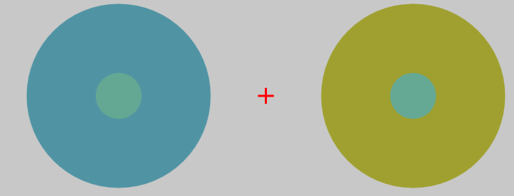 Figure 1: A traditional center-surround configuration. The two central patches are intrinsically qualitatively identical, but the patch set against a less yellow/more blue surround on the left appears more yellow/less blue than the patch set against a less blue/more yellow surround on the right.